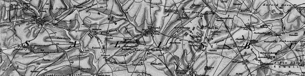 Old map of White Barrow (Long Barrow) in 1898
