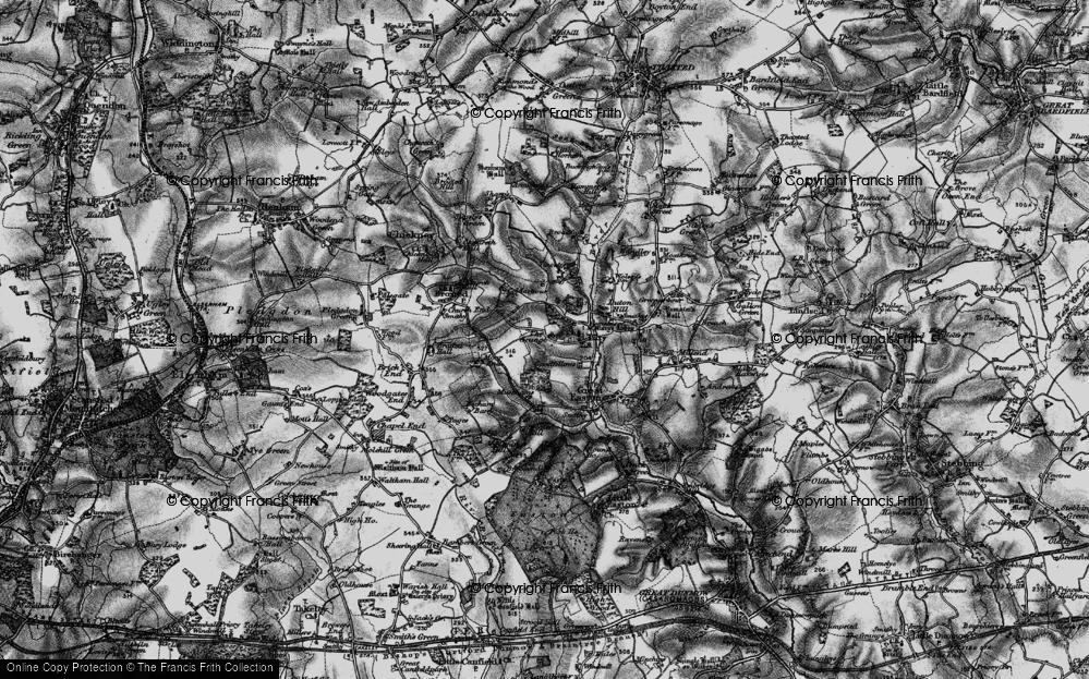 Old Map of Historic Map covering Tingates in 1895