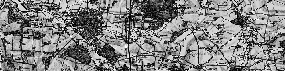 Old map of Timworth Hall in 1898