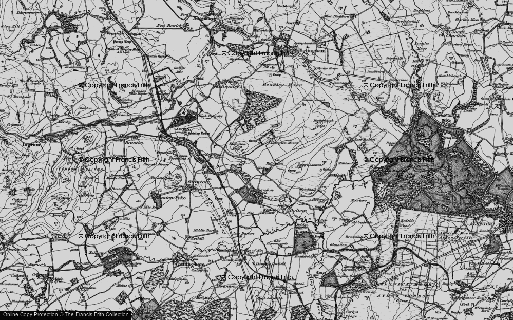 Old Map of Historic Map covering Titlington Mount in 1897