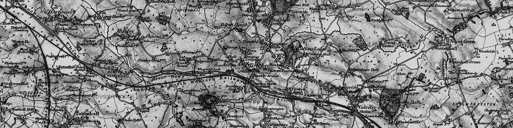 Old map of Tiverton in 1897