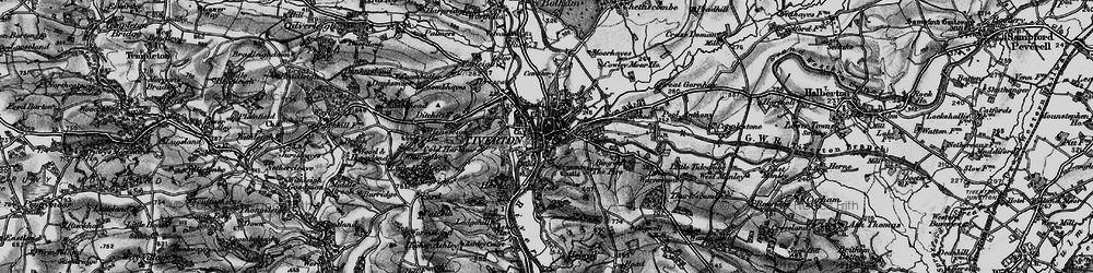 Old map of Tiverton in 1898