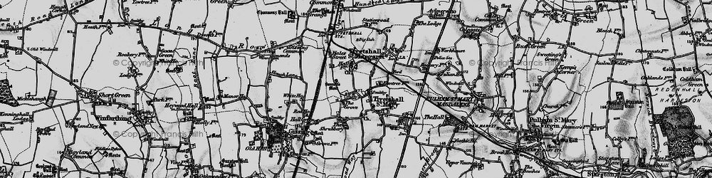 Old map of Tivetshall St Margaret in 1898