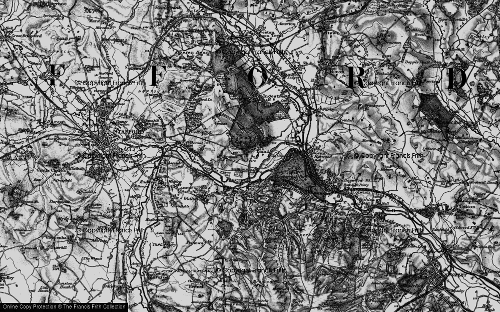 Old Map of Tixall, 1898 in 1898