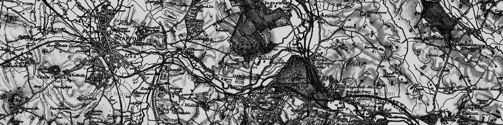 Old map of Tixall in 1898