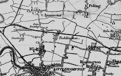 Old map of Toddington in 1895