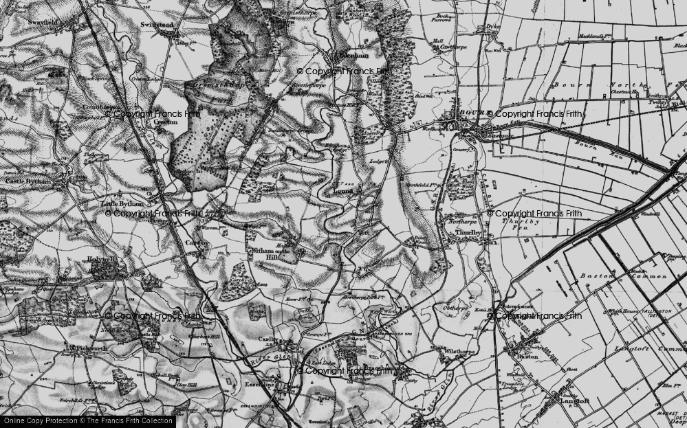 Old Map of Historic Map covering Auster Lodge in 1895