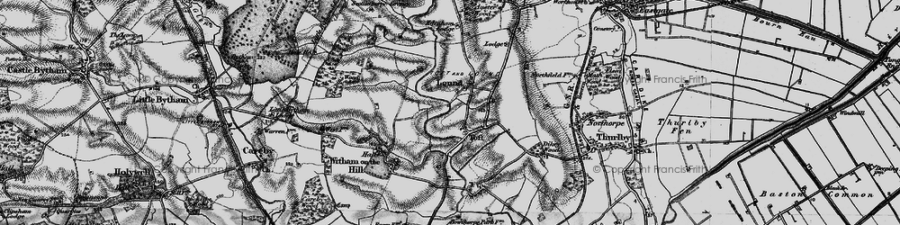 Old map of Toft Lodge in 1895