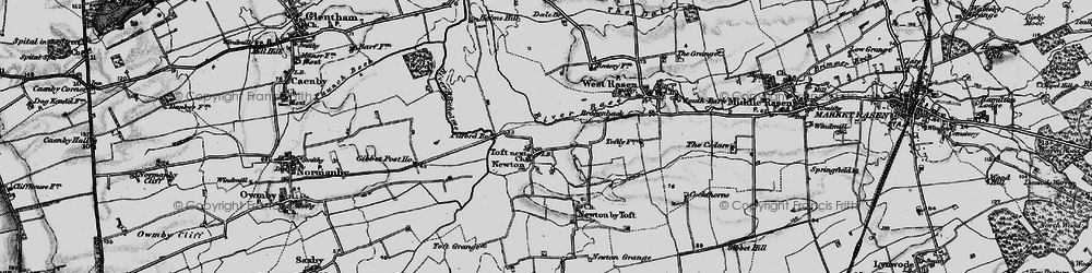 Old map of Toft next Newton in 1898