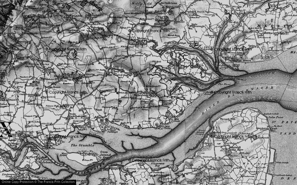 Old Map of Historic Map covering Tollesbury Fleet in 1895