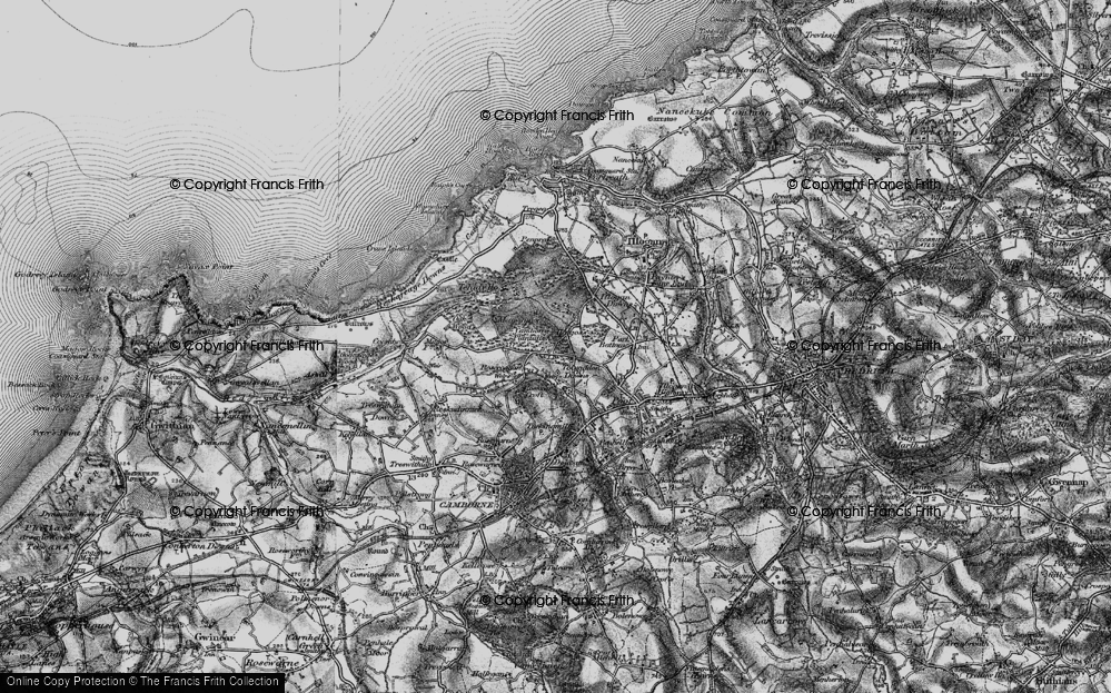 Old Map of Tolvaddon Downs, 1896 in 1896
