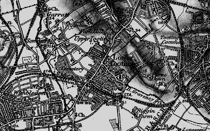 Old map of Tooting in 1896