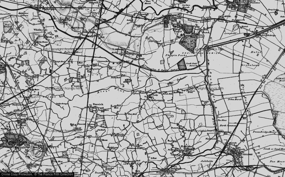 Old Map of Historic Map covering Balne Lodge in 1895