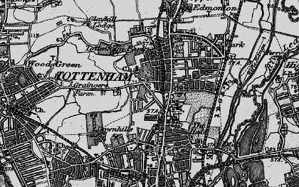 Old map of Tottenham in 1896