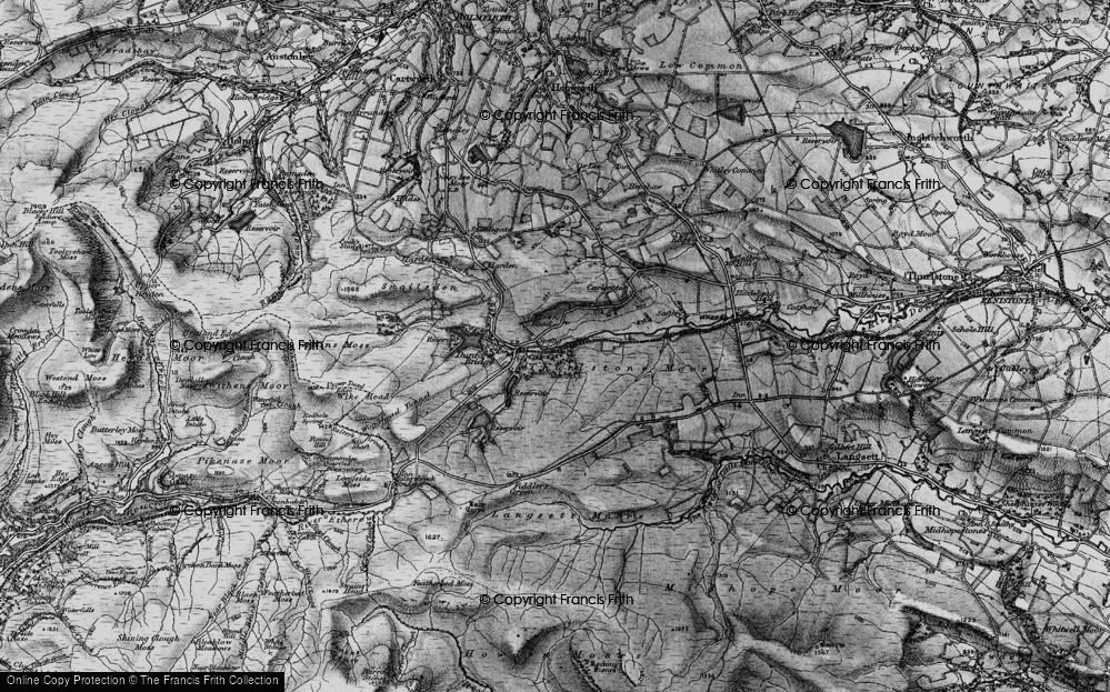 Old Map of Historic Map covering Laund Clough in 1896