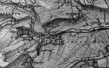 Old map of Wogden Clough in 1896