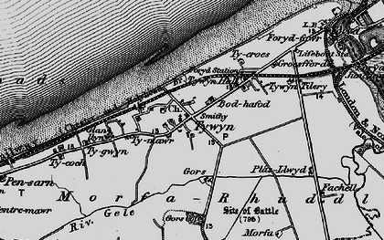 Old map of Towyn in 1898