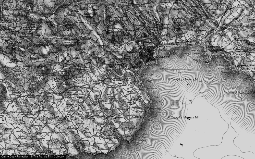 Old Map of Historic Map covering Tolcarne in 1895