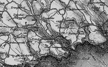 Old map of Logan Rock in 1895