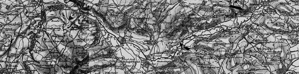 Old map of Afon Aeron in 1898