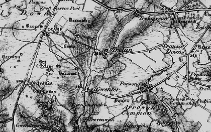 Old map of Goonhilly Downs in 1895