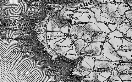 Old map of Zawn Kellys in 1895