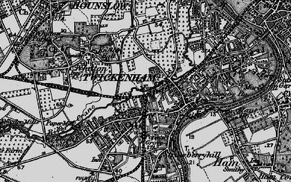 Old map of Twickenham in 1896