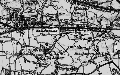 Old map of Tyldesley in 1896