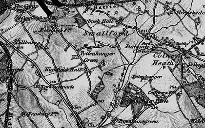 Old map of Tyttenhanger in 1896