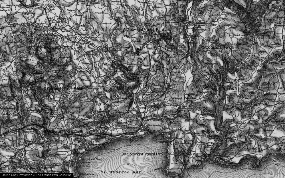 Old Map of Tywardreath Highway, 1895 in 1895
