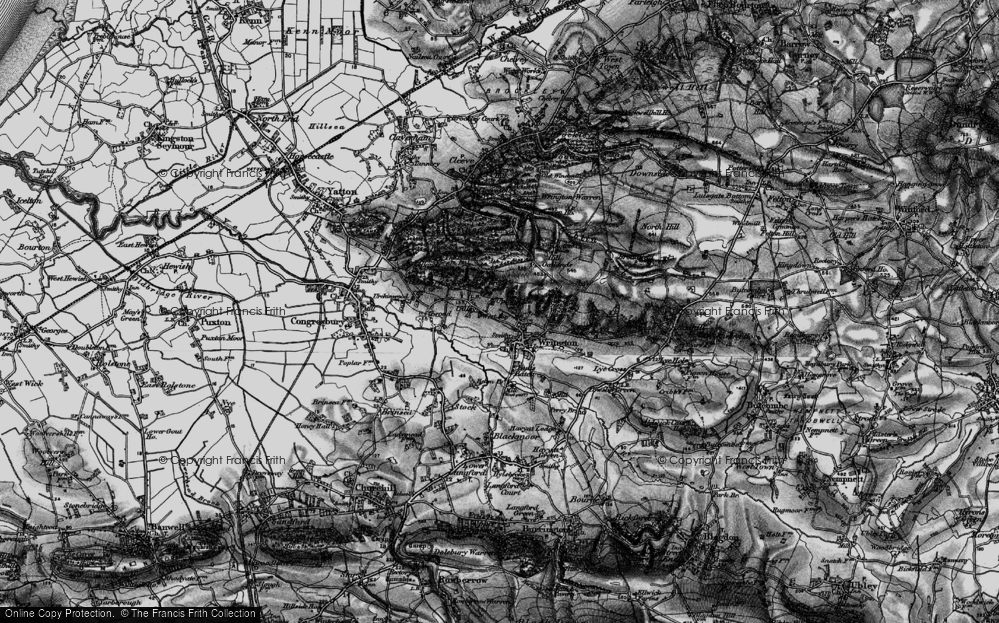Old Map of Historic Map covering Wrington Hill in 1898
