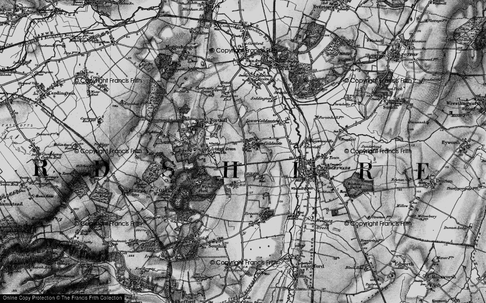 Old Map of Upper Caldecote, 1896 in 1896