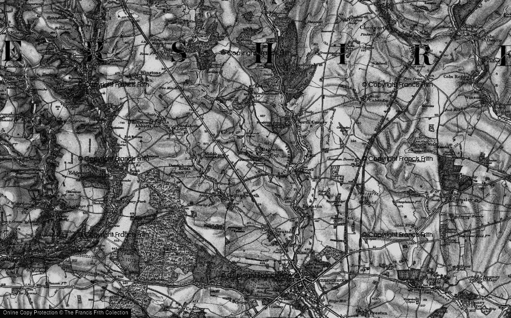 Old Map of Historic Map covering Bagendon Downs in 1896