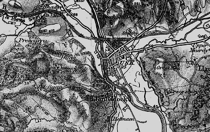 Old map of Usk in 1897