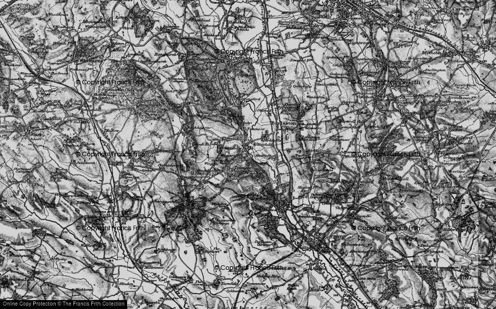 Old Map of Historic Map covering Tittensor Chase in 1897