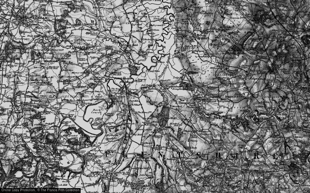 Old Map of Historic Map covering Worthenbury Brook in 1897