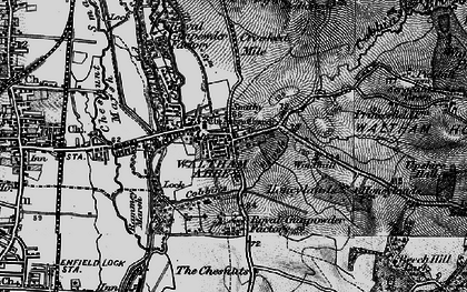 Old map of Waltham Abbey in 1896