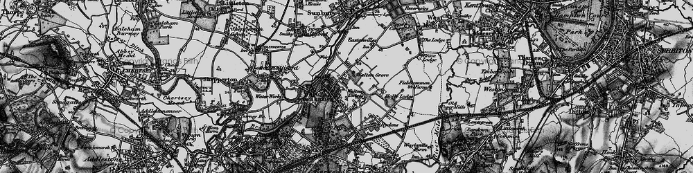 Old map of Walton-on-Thames in 1896