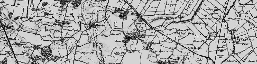 Old map of Warboys in 1898