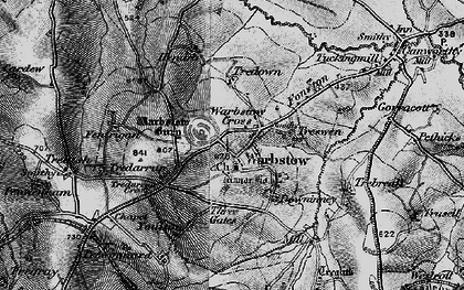 Old map of Warbstow Cross in 1895