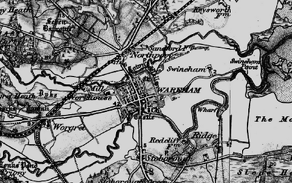 Old map of Wareham in 1895
