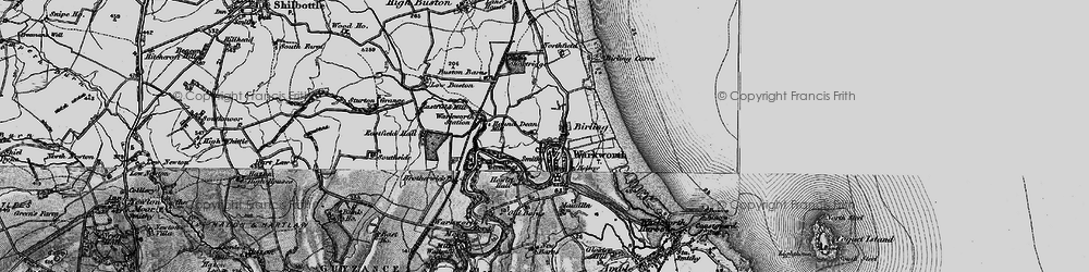 Old map of Warkworth in 1897