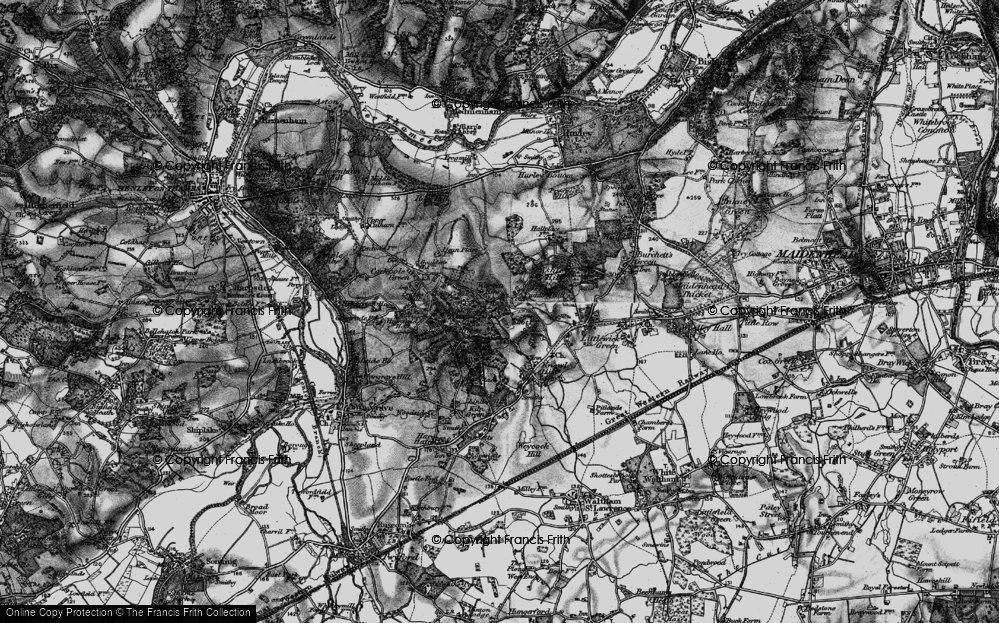 Old Map of Historic Map covering Ashley Hill Forest in 1895