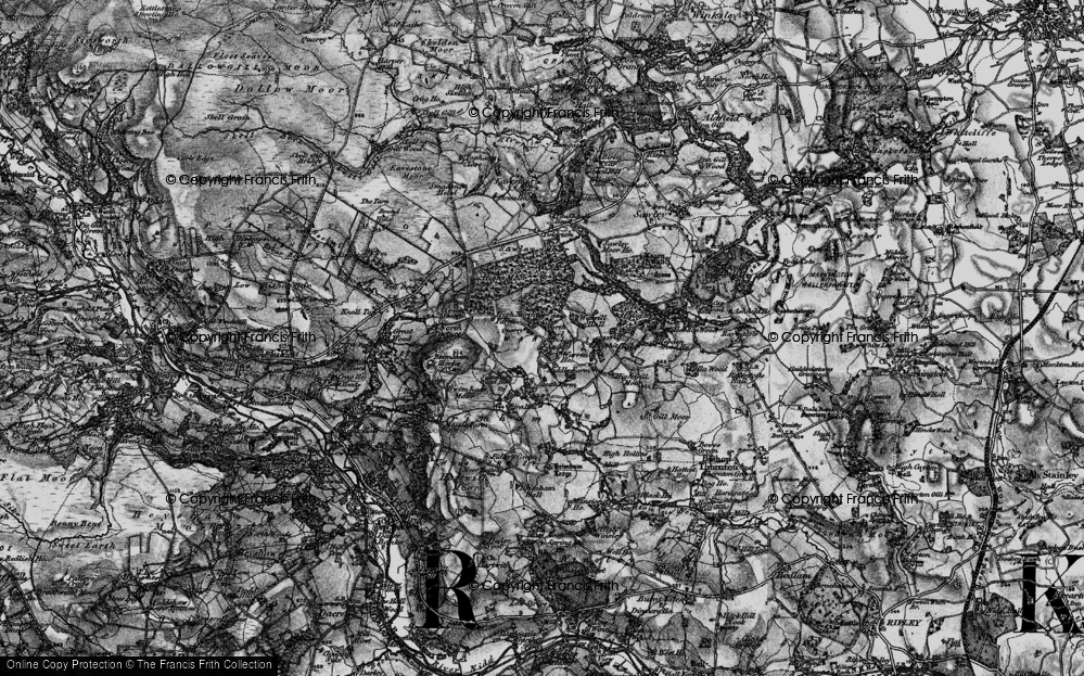 Old Map of Historic Map covering Brimham Rocks in 1898