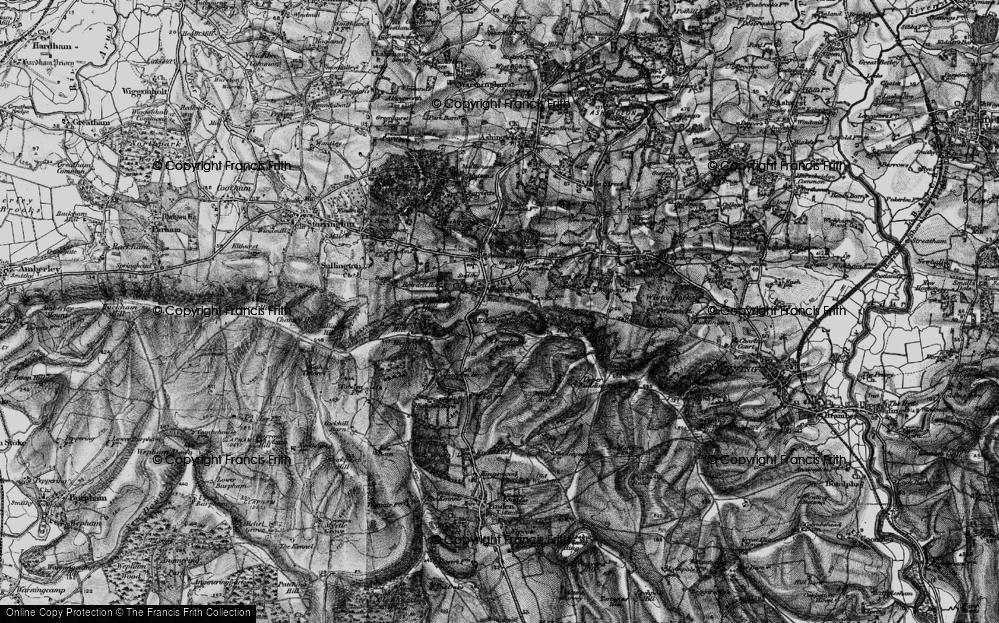 Old Map of Historic Map covering Chanctonbury Ring in 1895