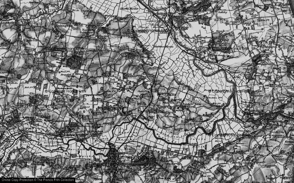 Old Map of Historic Map covering Toft Monks Ho in 1898