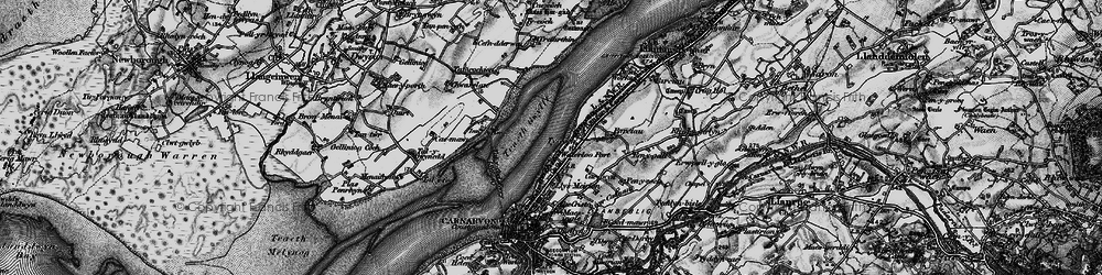 Old map of Afon Cadnant in 1899