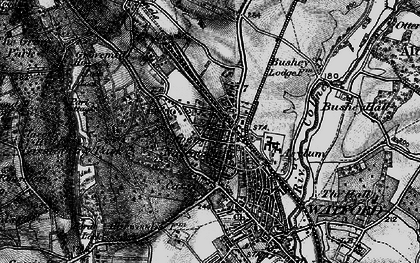 Old map of Watford in 1896