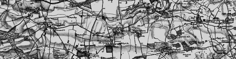 Old map of West Raynham Airfield in 1898