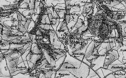 Old map of Week St Mary in 1896